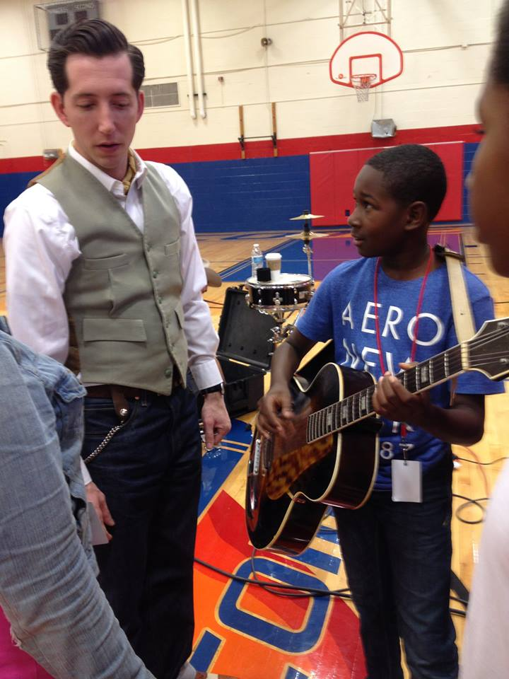 Pokey LaFarge visit at Ferguson Middle School with Strings Attached project, 2014